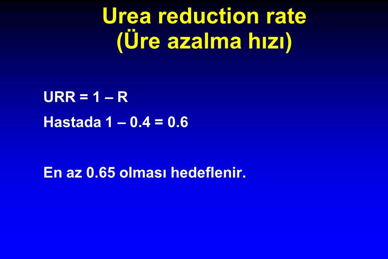 Urea reduction rate (Üre azalma hızı) URR = 1 – R Hastada 1 – 0.4 = 0.6 En az 0.65 olması hedeflenir.
