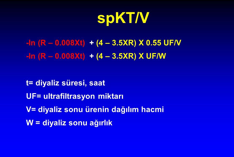 spKT/V -ln (R – 0.008Xt) + (4 – 3.5XR) X 0.55 UF/V -ln (R – 0.008Xt) + (4 – 3.5XR) X UF/W t= diyaliz süresi, saat UF= ultrafiltrasyon miktarı V= diyaliz sonu ürenin dağılım hacmi W = diyaliz sonu ağırlık