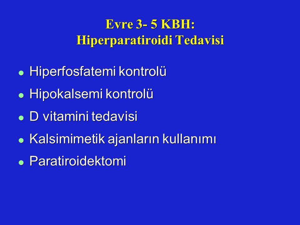 Evre 3- 5 KBH: Hiperparatiroidi Tedavisi l Hiperfosfatemi kontrolü l Hipokalsemi kontrolü l D vitamini tedavisi l Kalsimimetik ajanların kullanımı l P