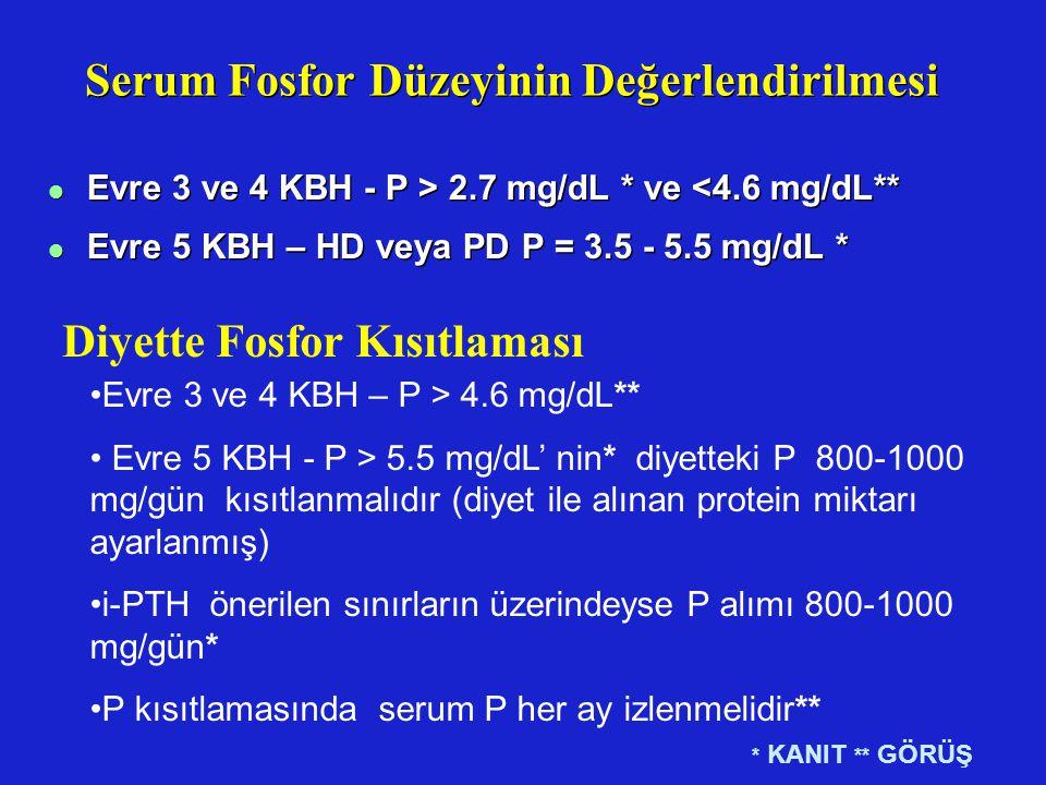 Serum Fosfor Düzeyinin Değerlendirilmesi l Evre 3 ve 4 KBH - P > 2.7 mg/dL * ve <4.6 mg/dL** l Evre 5 KBH – HD veya PD P = 3.5 - 5.5 mg/dL * l Evre 3