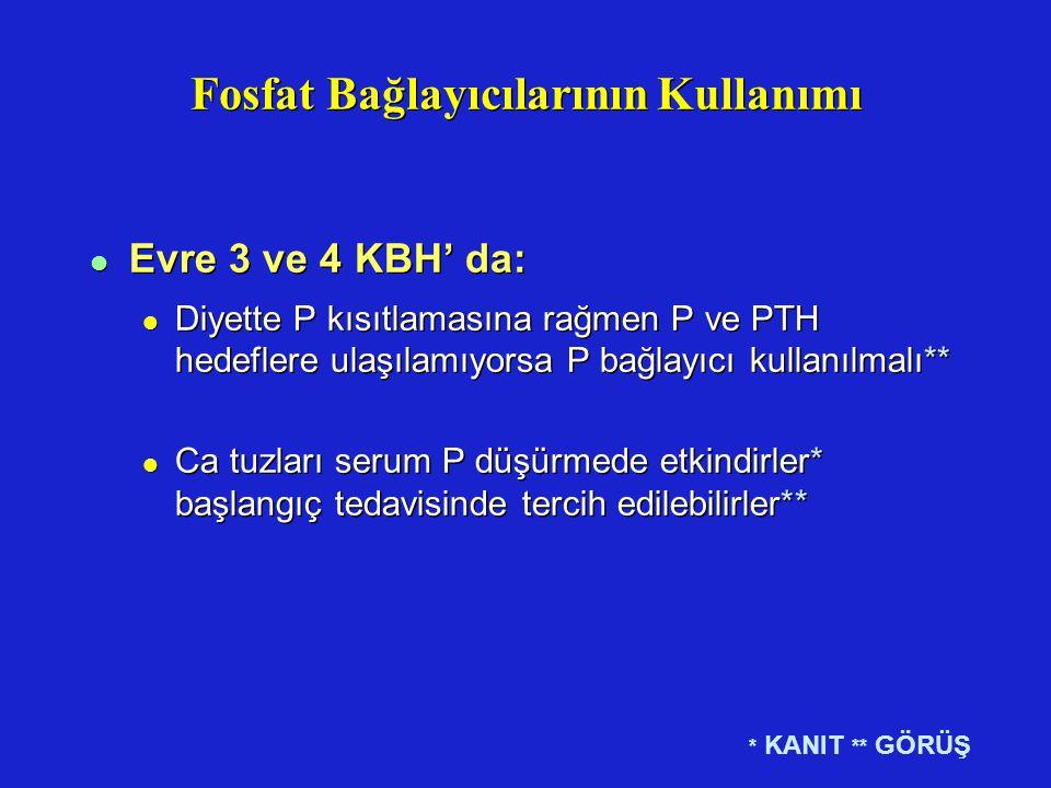 Fosfat Bağlayıcılarının Kullanımı l Evre 3 ve 4 KBH' da: l Diyette P kısıtlamasına rağmen P ve PTH hedeflere ulaşılamıyorsa P bağlayıcı kullanılmalı**