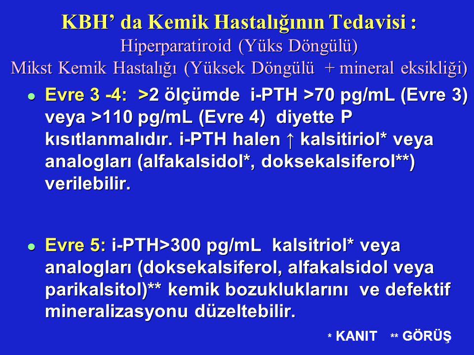 KBH' da Kemik Hastalığının Tedavisi : Hiperparatiroid (Yüks Döngülü) Mikst Kemik Hastalığı (Yüksek Döngülü + mineral eksikliği) l Evre 3 -4: >2 ölçümd