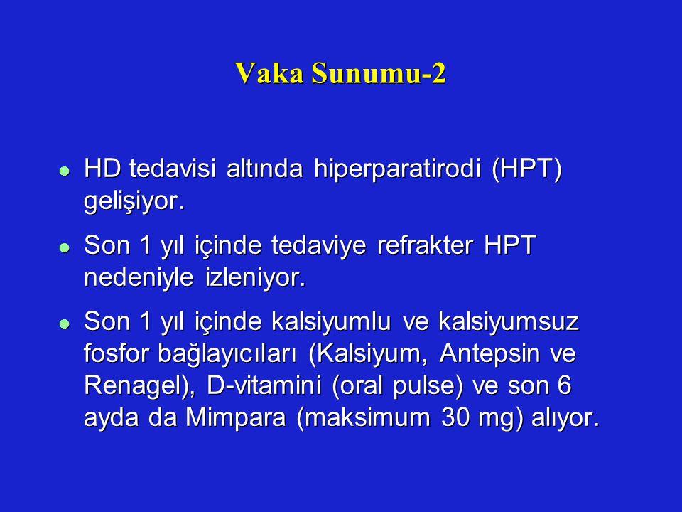 Vaka Sunumu-2 l HD tedavisi altında hiperparatirodi (HPT) gelişiyor. l Son 1 yıl içinde tedaviye refrakter HPT nedeniyle izleniyor. l Son 1 yıl içinde