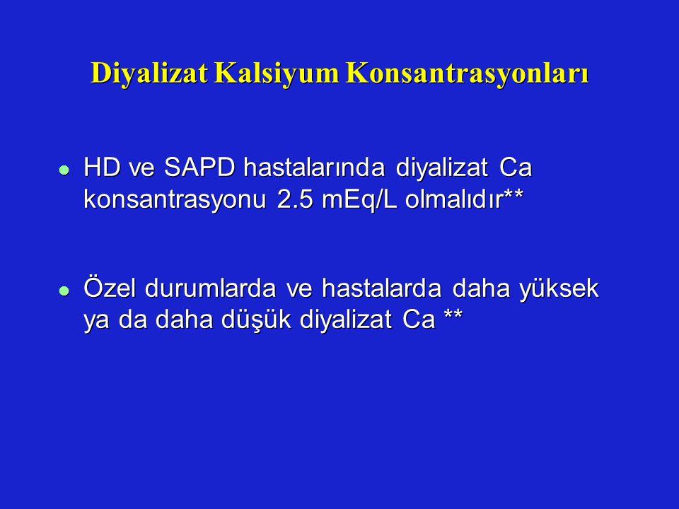 Diyalizat Kalsiyum Konsantrasyonları l HD ve SAPD hastalarında diyalizat Ca konsantrasyonu 2.5 mEq/L olmalıdır** l Özel durumlarda ve hastalarda daha