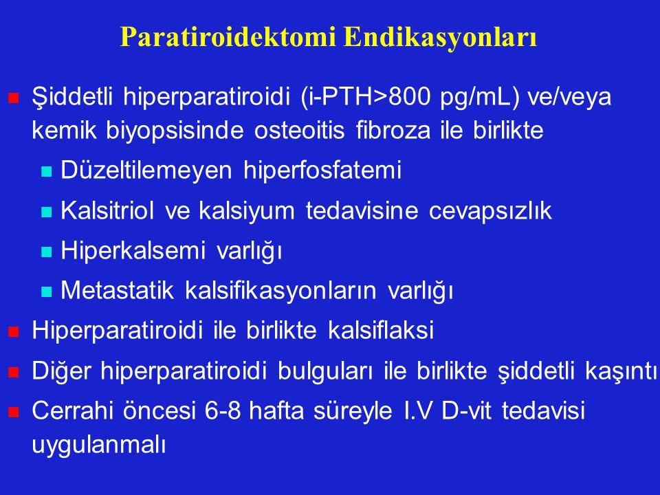 Paratiroidektomi Endikasyonları Şiddetli hiperparatiroidi (i-PTH>800 pg/mL) ve/veya kemik biyopsisinde osteoitis fibroza ile birlikte Düzeltilemeyen h