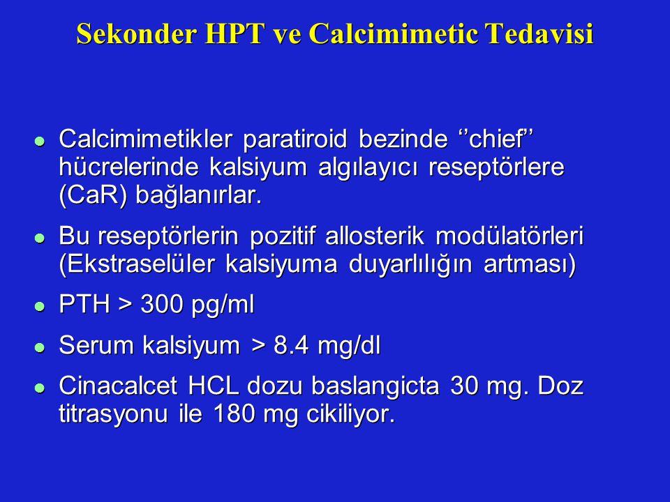 Sekonder HPT ve Calcimimetic Tedavisi l Calcimimetikler paratiroid bezinde ''chief'' hücrelerinde kalsiyum algılayıcı reseptörlere (CaR) bağlanırlar.