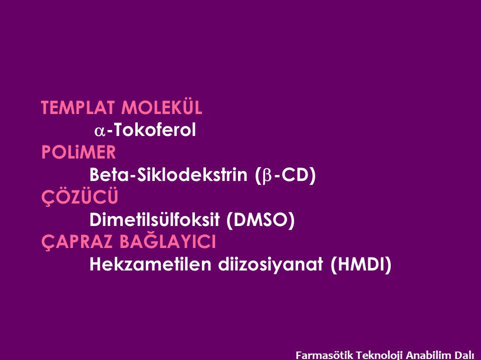 TEMPLAT MOLEKÜL  -Tokoferol POLiMER Beta-Siklodekstrin (  -CD) ÇÖZÜCÜ Dimetilsülfoksit (DMSO) ÇAPRAZ BAĞLAYICI Hekzametilen diizosiyanat (HMDI) Farm