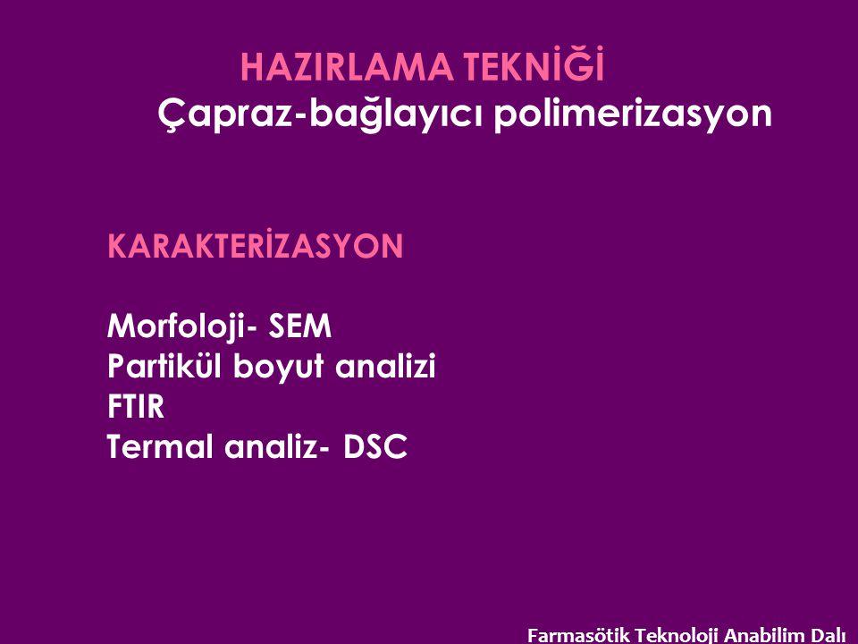 HAZIRLAMA TEKNİĞİ Çapraz-bağlayıcı polimerizasyon KARAKTERİZASYON Morfoloji- SEM Partikül boyut analizi FTIR Termal analiz- DSC Farmasötik Teknoloji A
