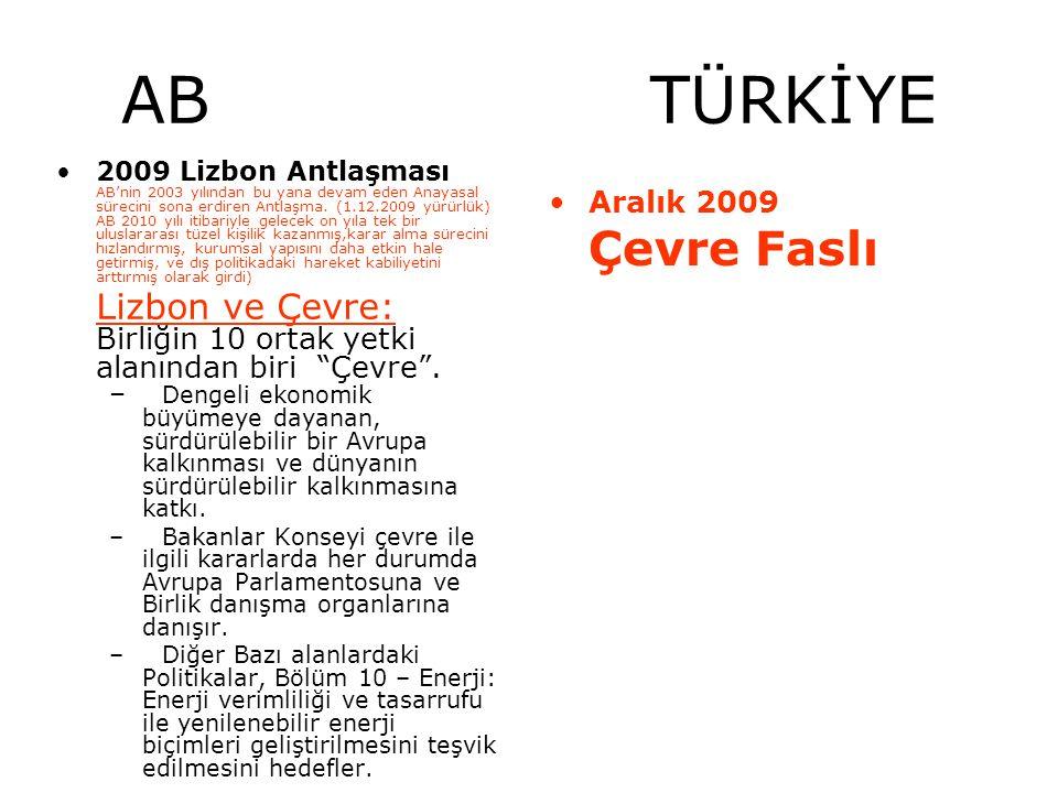 AB TÜRKİYE 2009 Lizbon Antlaşması AB'nin 2003 yılından bu yana devam eden Anayasal sürecini sona erdiren Antlaşma. (1.12.2009 yürürlük) AB 2010 yılı i