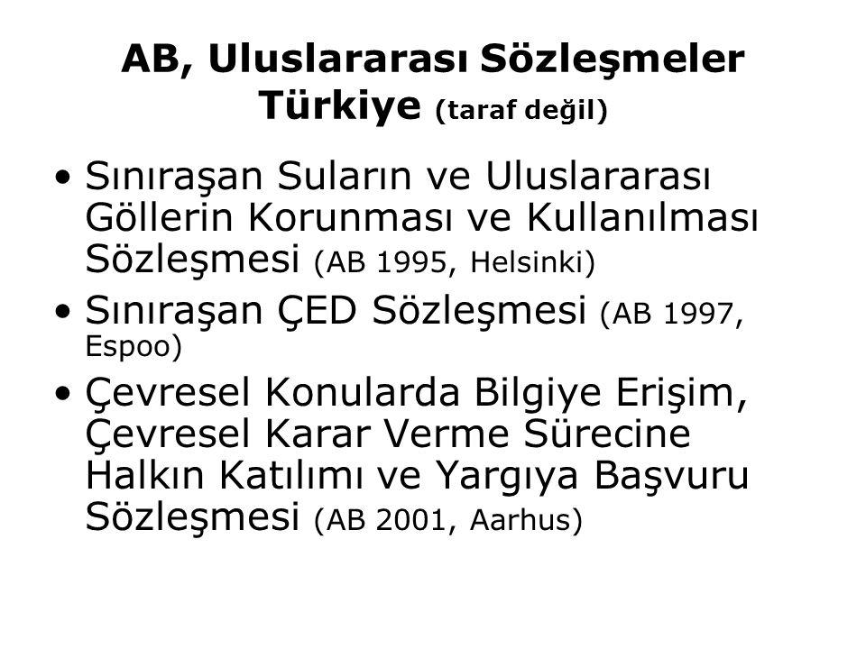 AB, Uluslararası Sözleşmeler Türkiye (taraf değil) Sınıraşan Suların ve Uluslararası Göllerin Korunması ve Kullanılması Sözleşmesi (AB 1995, Helsinki)