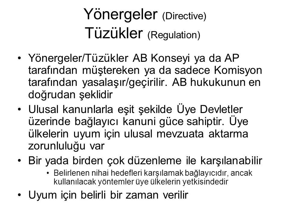 Yönergeler (Directive) Tüzükler (Regulation) Yönergeler/Tüzükler AB Konseyi ya da AP tarafından müştereken ya da sadece Komisyon tarafından yasalaşır/