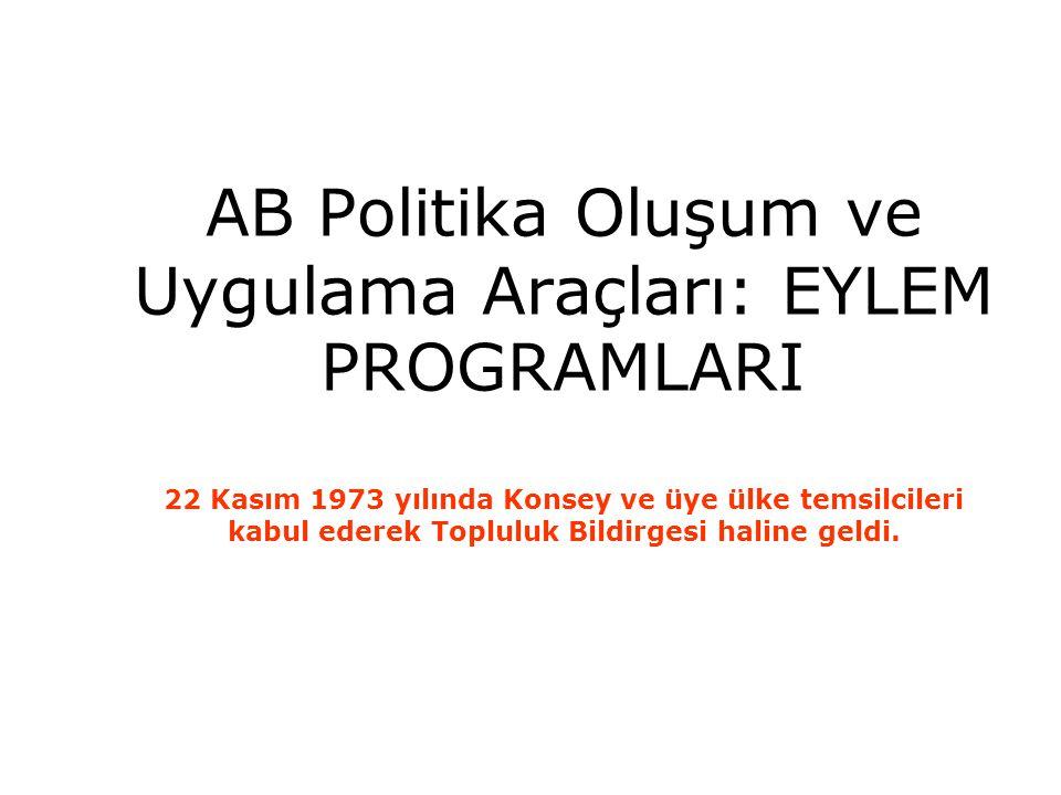 AB Politika Oluşum ve Uygulama Araçları: EYLEM PROGRAMLARI 22 Kasım 1973 yılında Konsey ve üye ülke temsilcileri kabul ederek Topluluk Bildirgesi hali