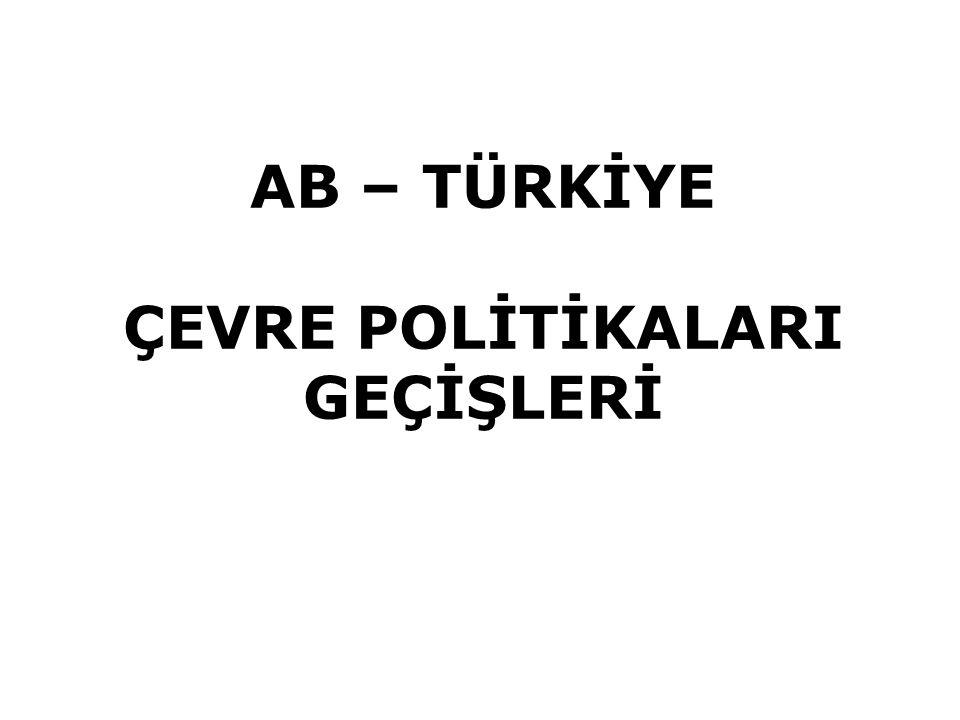 AB Çevre Mevzuatının Yapısı AB Çevre müktesebatı 80'i önemli direktif 18 Çerçeve Yönerge olan 270 yasal düzenlemeden (Tüzük ve Yönerge) oluşuyor, bu sayı bütün ekler ve teknik uyarlamalar dahil olunca 560'dan fazla (AB müktesebatı: AB Hukuk Sistemi (35 Fasıl) (Türkiye 33 Fasıl, 130.000 sayfa)