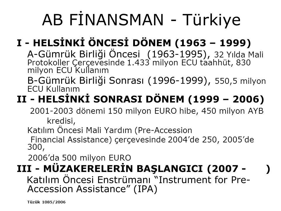 AB FİNANSMAN - Türkiye I - HELSİNKİ ÖNCESİ DÖNEM (1963 – 1999) A-Gümrük Birliği Öncesi (1963-1995), 32 Yılda Mali Protokoller Çerçevesinde 1.433 milyo