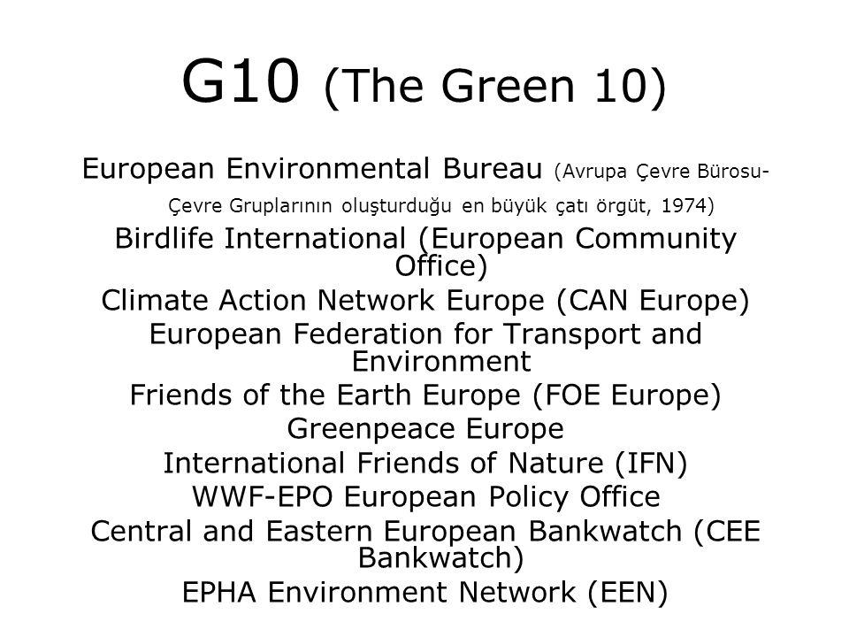 G10 (The Green 10) European Environmental Bureau (Avrupa Çevre Bürosu- Çevre Gruplarının oluşturduğu en büyük çatı örgüt, 1974) Birdlife International