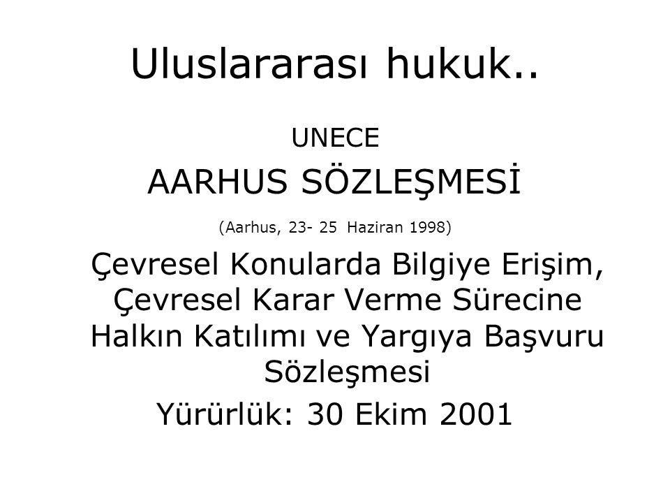 Uluslararası hukuk.. UNECE AARHUS SÖZLEŞMESİ (Aarhus, 23- 25 Haziran 1998) Çevresel Konularda Bilgiye Erişim, Çevresel Karar Verme Sürecine Halkın Kat