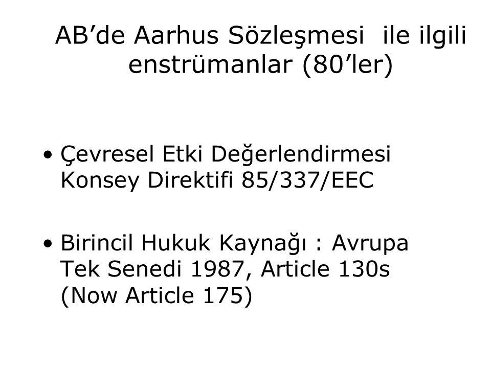 AB'de Aarhus Sözleşmesi ile ilgili enstrümanlar (80'ler) Çevresel Etki Değerlendirmesi Konsey Direktifi 85/337/EEC Birincil Hukuk Kaynağı : Avrupa Tek