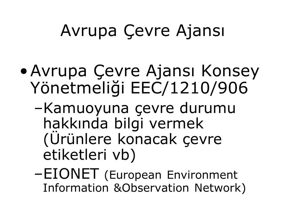 Avrupa Çevre Ajansı Avrupa Çevre Ajansı Konsey Yönetmeliği EEC/1210/906 –Kamuoyuna çevre durumu hakkında bilgi vermek (Ürünlere konacak çevre etiketle