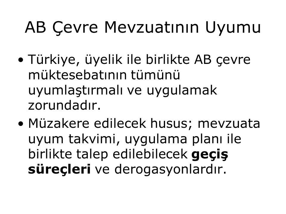 AB Çevre Mevzuatının Uyumu Türkiye, üyelik ile birlikte AB çevre müktesebatının tümünü uyumlaştırmalı ve uygulamak zorundadır. Müzakere edilecek husus