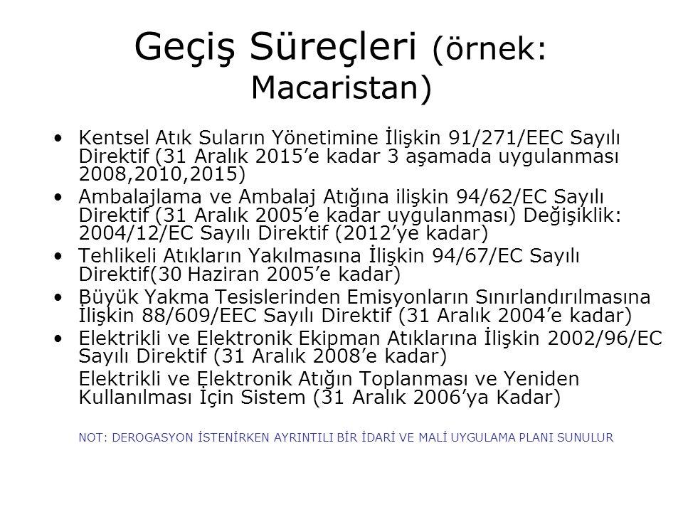 Geçiş Süreçleri (örnek: Macaristan) Kentsel Atık Suların Yönetimine İlişkin 91/271/EEC Sayılı Direktif (31 Aralık 2015'e kadar 3 aşamada uygulanması 2