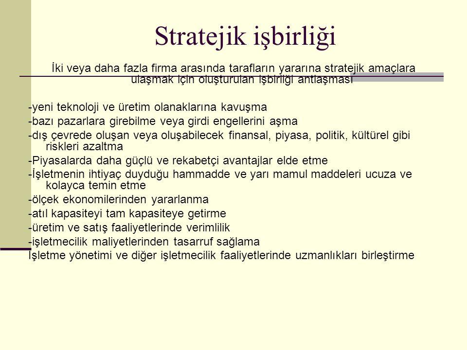 Stratejik işbirliği İki veya daha fazla firma arasında tarafların yararına stratejik amaçlara ulaşmak için oluşturulan işbirliği antlaşması -yeni tekn