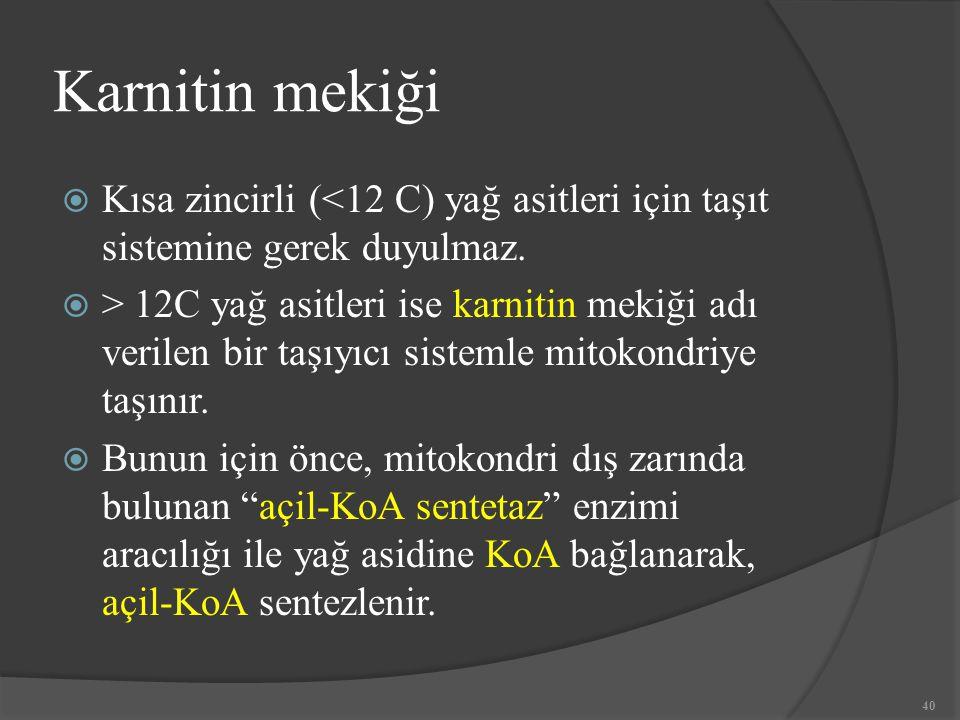 Karnitin mekiği  Kısa zincirli (<12 C) yağ asitleri için taşıt sistemine gerek duyulmaz.  > 12C yağ asitleri ise karnitin mekiği adı verilen bir taş