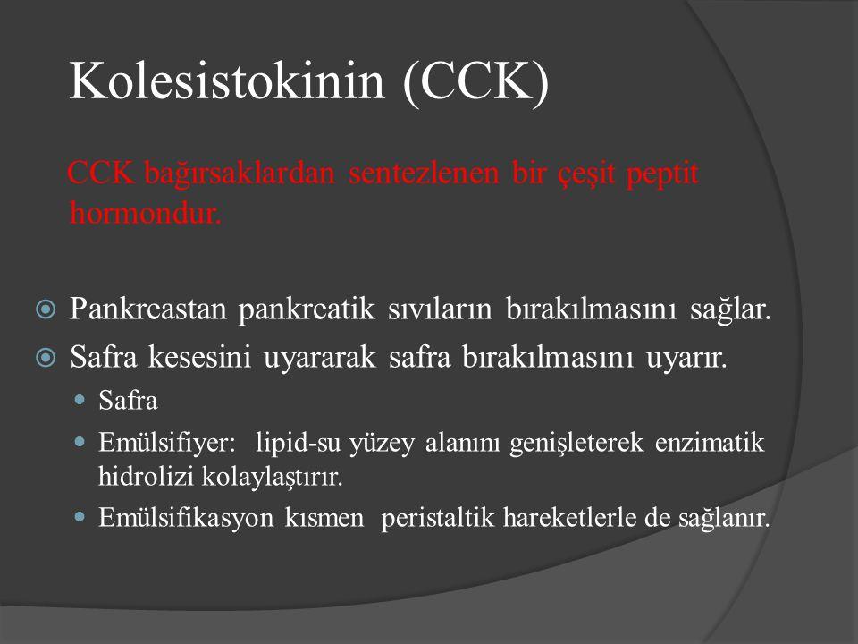Kolesistokinin (CCK) CCK bağırsaklardan sentezlenen bir çeşit peptit hormondur.  Pankreastan pankreatik sıvıların bırakılmasını sağlar.  Safra keses
