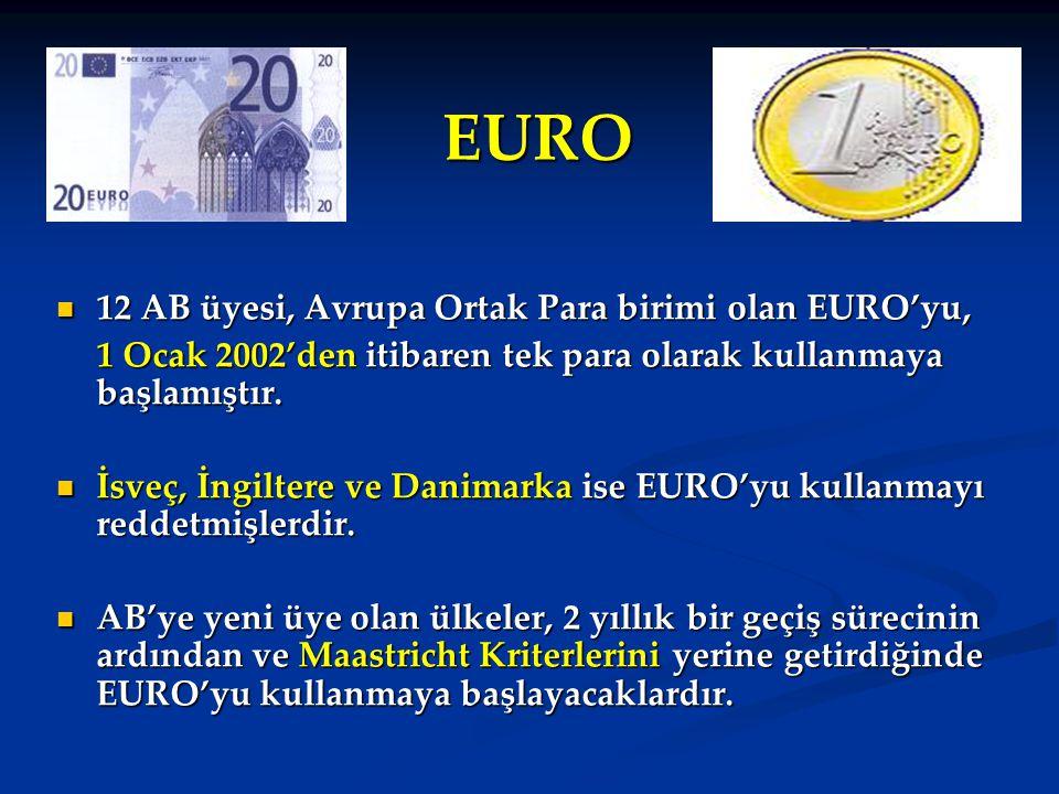 EURO 12 AB üyesi, Avrupa Ortak Para birimi olan EURO'yu, 12 AB üyesi, Avrupa Ortak Para birimi olan EURO'yu, 1 Ocak 2002'den itibaren tek para olarak kullanmaya başlamıştır.