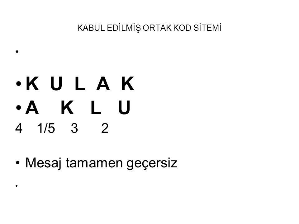 KABUL EDİLMİŞ ORTAK KOD SİTEMİ K U L A K A K L U 4 1/5 3 2 Mesaj tamamen geçersiz