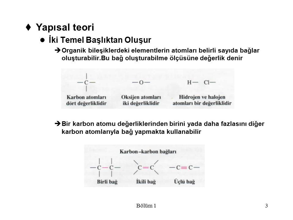 Bölüm 13  Yapısal teori İki Temel Başlıktan Oluşur  Organik bileşiklerdeki elementlerin atomları belirli sayıda bağlar oluşturabilir.Bu bağ oluştura