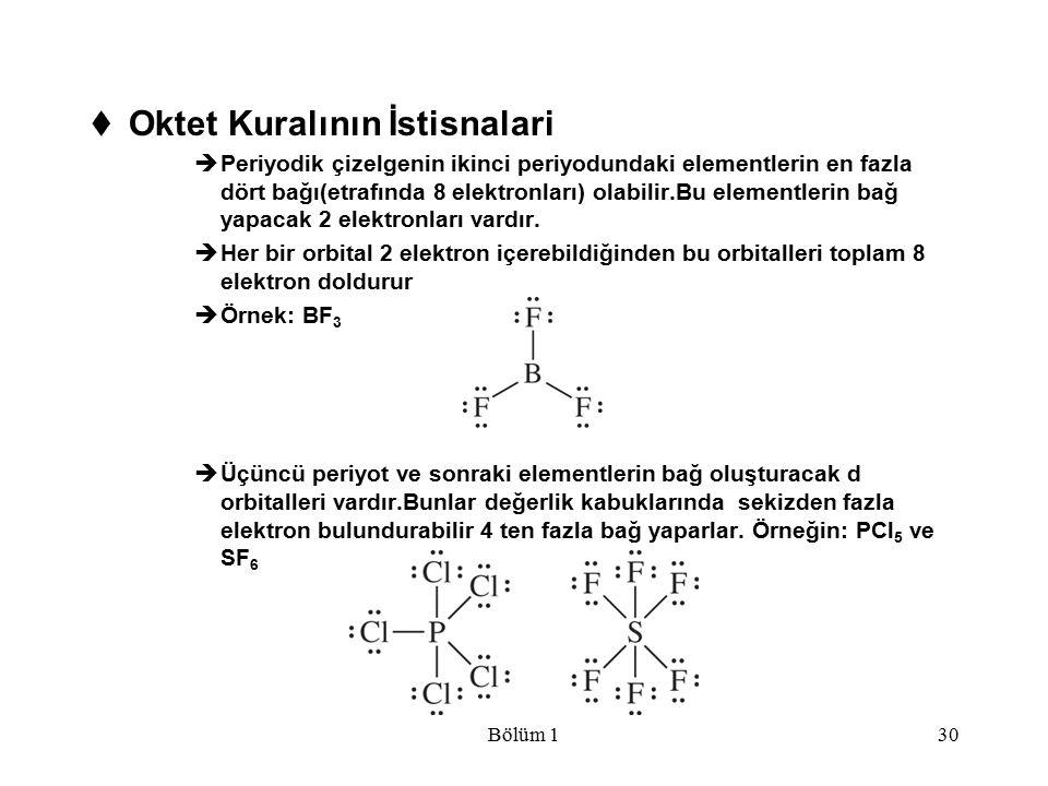 Bölüm 130  Oktet Kuralının İstisnalari  Periyodik çizelgenin ikinci periyodundaki elementlerin en fazla dört bağı(etrafında 8 elektronları) olabilir