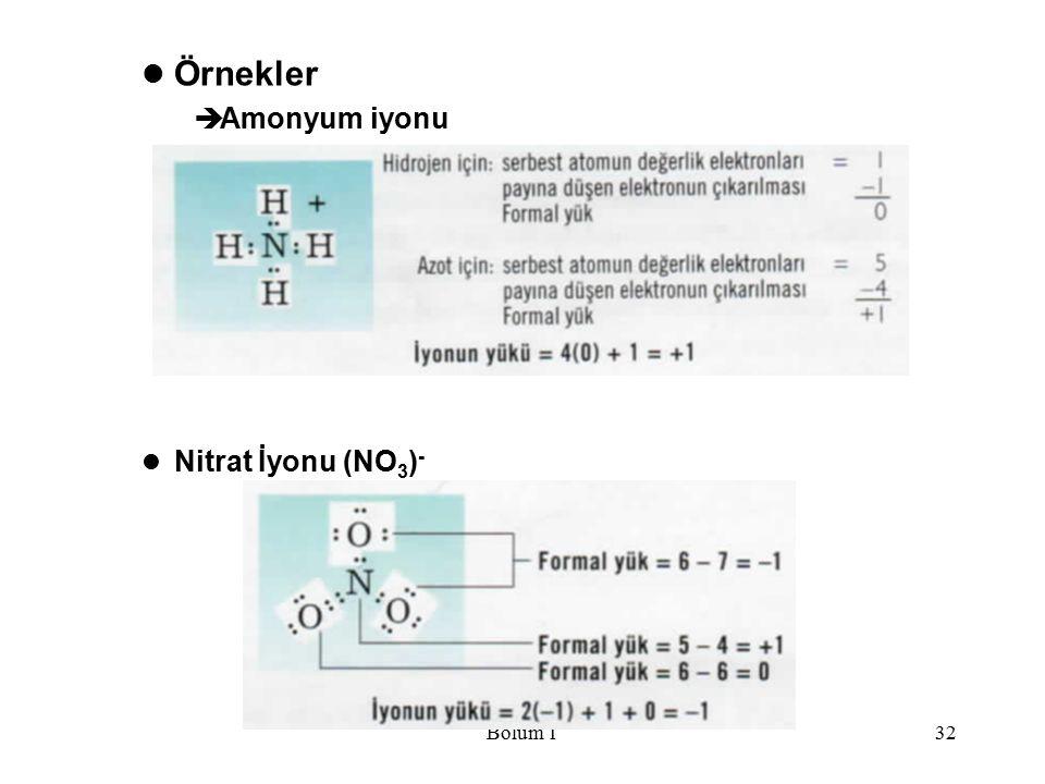 Bölüm 132 Örnekler  Amonyum iyonu Nitrat İyonu (NO 3 ) -