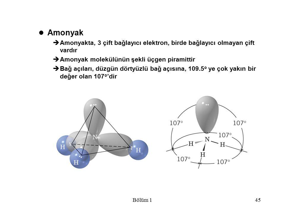 Bölüm 145 Amonyak  Amonyakta, 3 çift bağlayıcı elektron, birde bağlayıcı olmayan çift vardır  Amonyak molekülünün şekli üçgen piramittir  Bağ açıla