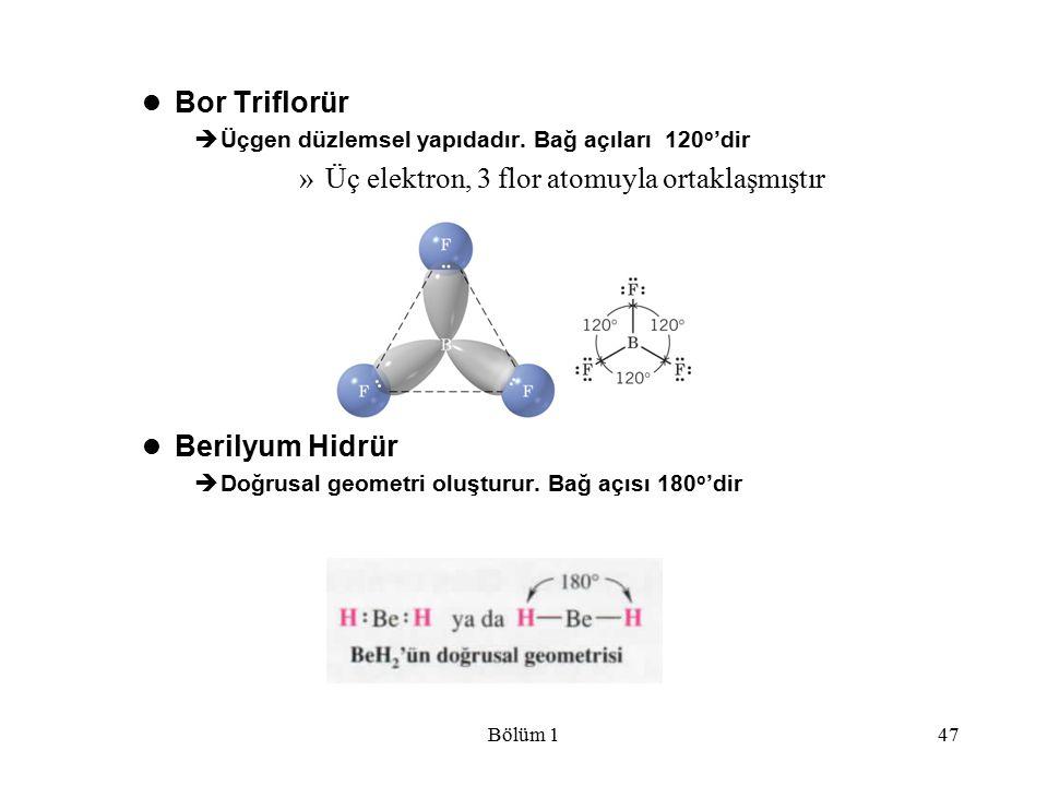 Bölüm 147 Bor Triflorür  Üçgen düzlemsel yapıdadır. Bağ açıları 120 o 'dir »Üç elektron, 3 flor atomuyla ortaklaşmıştır Berilyum Hidrür  Doğrusal ge