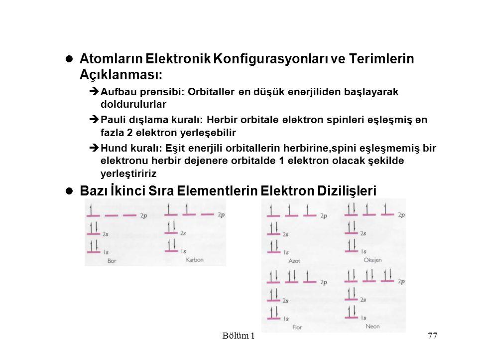 Bölüm 177 Atomların Elektronik Konfigurasyonları ve Terimlerin Açıklanması:  Aufbau prensibi: Orbitaller en düşük enerjiliden başlayarak doldurulurla