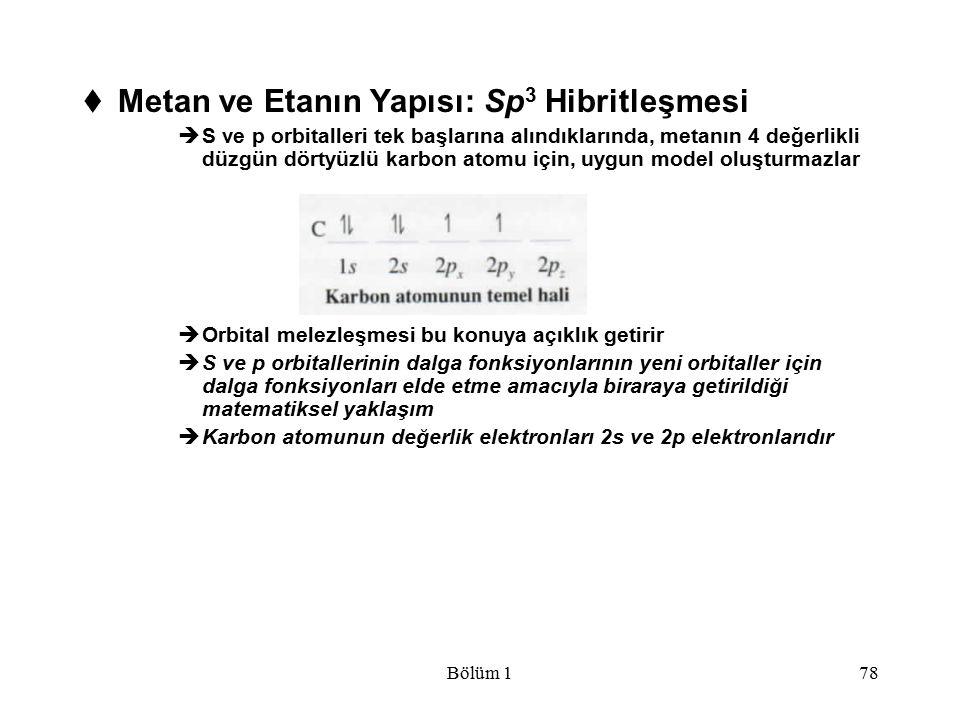 Bölüm 178  Metan ve Etanın Yapısı: Sp 3 Hibritleşmesi  S ve p orbitalleri tek başlarına alındıklarında, metanın 4 değerlikli düzgün dörtyüzlü karbon