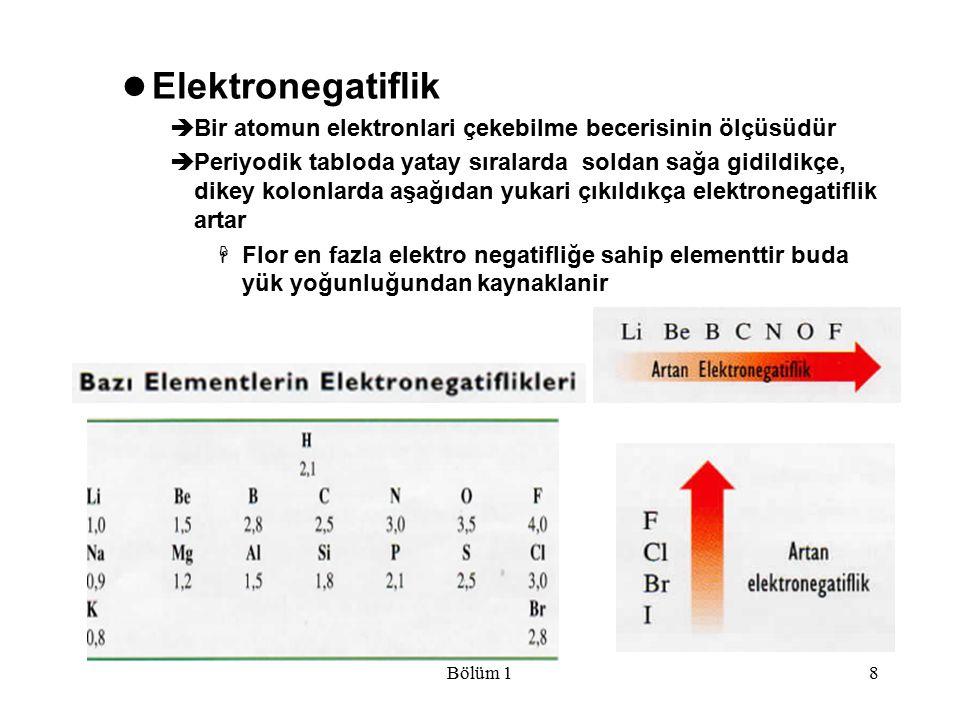 Bölüm 18 Elektronegatiflik  Bir atomun elektronlari çekebilme becerisinin ölçüsüdür  Periyodik tabloda yatay sıralarda soldan sağa gidildikçe, dikey