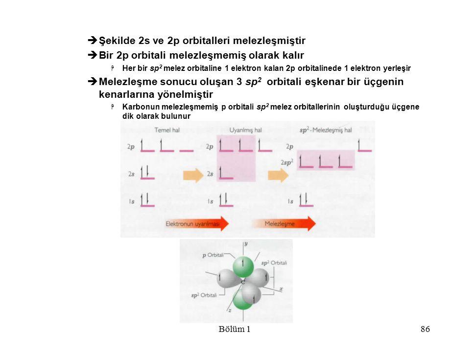 Bölüm 186  Şekilde 2s ve 2p orbitalleri melezleşmiştir  Bir 2p orbitali melezleşmemiş olarak kalır  Her bir sp 2 melez orbitaline 1 elektron kalan