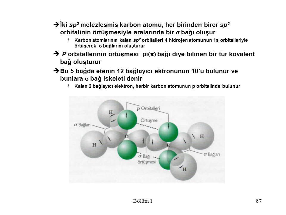 Bölüm 187  İki sp 2 melezleşmiş karbon atomu, her birinden birer sp 2 orbitalinin örtüşmesiyle aralarında bir  bağı oluşur  Karbon atomlarının kal