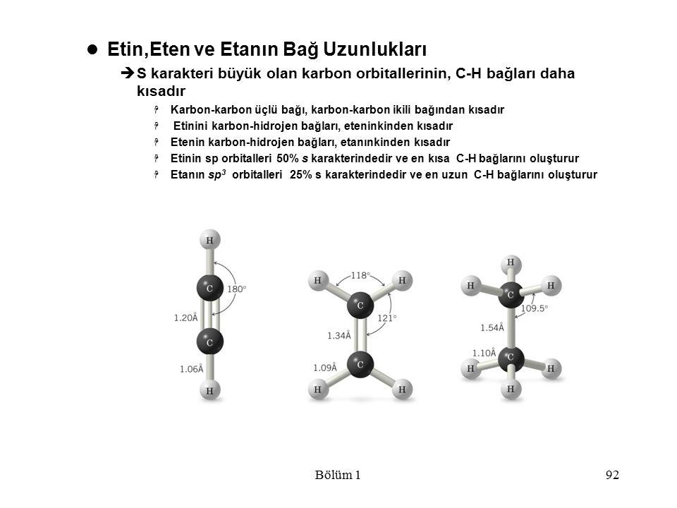 Bölüm 192 Etin,Eten ve Etanın Bağ Uzunlukları  S karakteri büyük olan karbon orbitallerinin, C-H bağları daha kısadır  Karbon-karbon üçlü bağı, karb