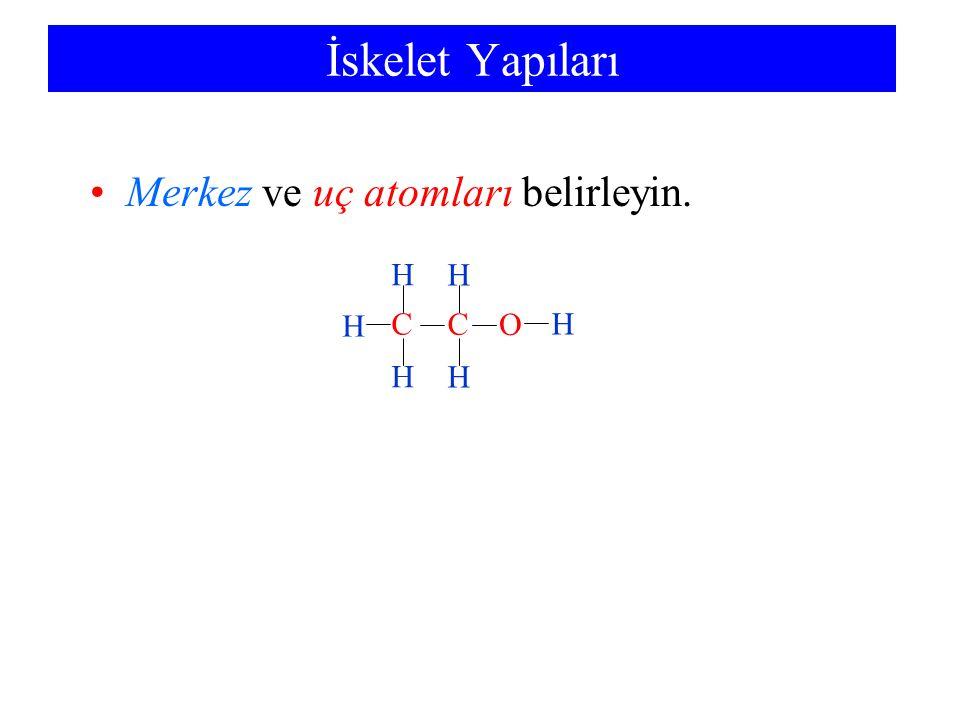 İskelet Yapıları Merkez ve uç atomları belirleyin. C H H H H C H H O