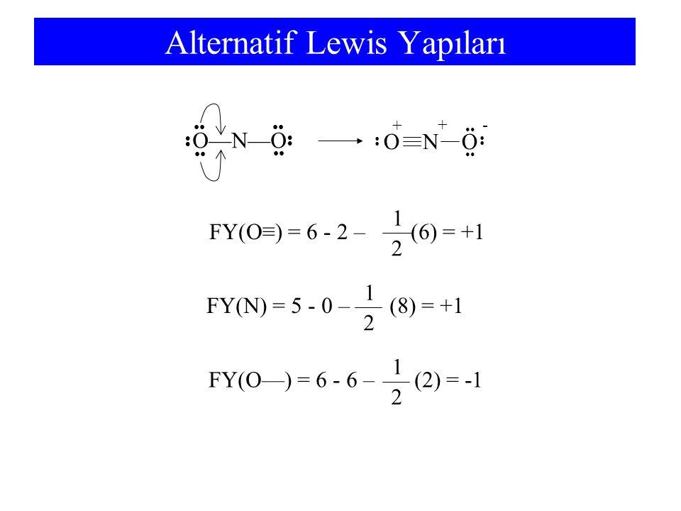 Alternatif Lewis Yapıları O—N—O + - + FY(O≡) = 6 - 2 – (6) = +1 2 1 FY(N) = 5 - 0 – (8) = +1 2 1 FY(O—) = 6 - 6 – (2) = -1 2 1 O N O