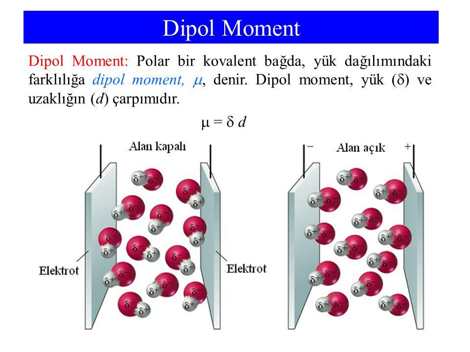 Dipol Moment Dipol Moment: Polar bir kovalent bağda, yük dağılımındaki farklılığa dipol moment, , denir. Dipol moment, yük (  ) ve uzaklığın (d) çar