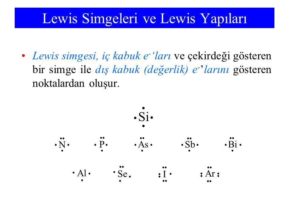 Lewis Simgeleri ve Lewis Yapıları Lewis simgesi, iç kabuk e - 'ları ve çekirdeği gösteren bir simge ile dış kabuk (değerlik) e - 'larını gösteren noktalardan oluşur.
