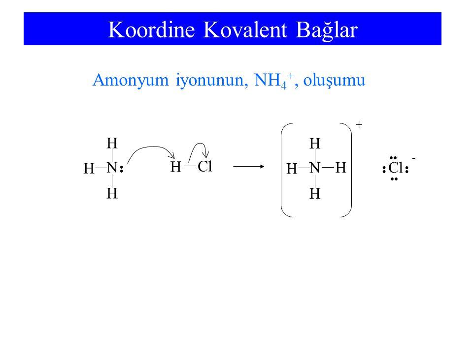 Koordine Kovalent Bağlar H N H H H N H H H H + Cl Cl - Amonyum iyonunun, NH 4 +, oluşumu