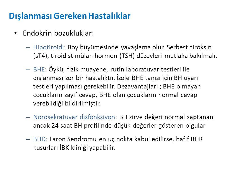 Dışlanması Gereken Hastalıklar Endokrin bozukluklar: – Hipotiroidi: Boy büyümesinde yavaşlama olur. Serbest tiroksin (sT4), tiroid stimülan hormon (TS