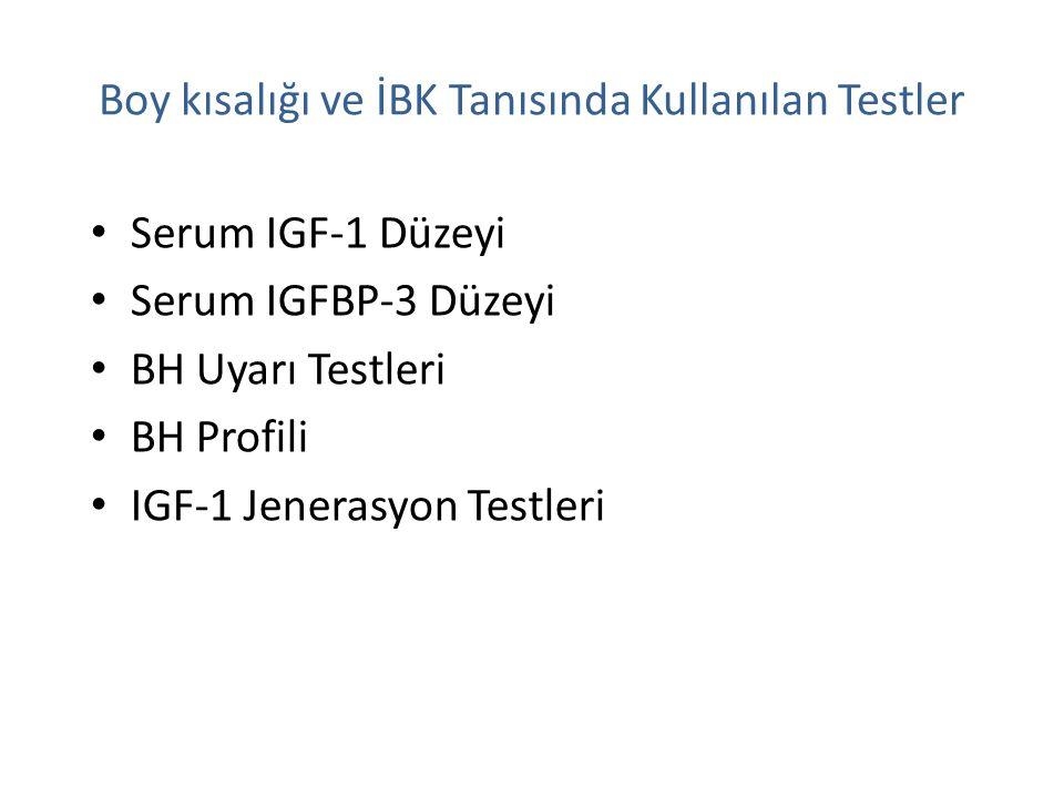 Boy kısalığı ve İBK Tanısında Kullanılan Testler Serum IGF-1 Düzeyi Serum IGFBP-3 Düzeyi BH Uyarı Testleri BH Profili IGF-1 Jenerasyon Testleri