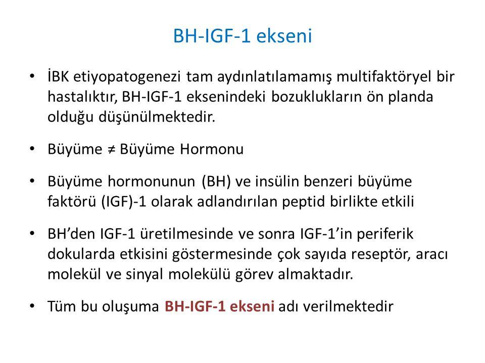 BH-IGF-1 ekseni İBK etiyopatogenezi tam aydınlatılamamış multifaktöryel bir hastalıktır, BH-IGF-1 eksenindeki bozuklukların ön planda olduğu düşünülme