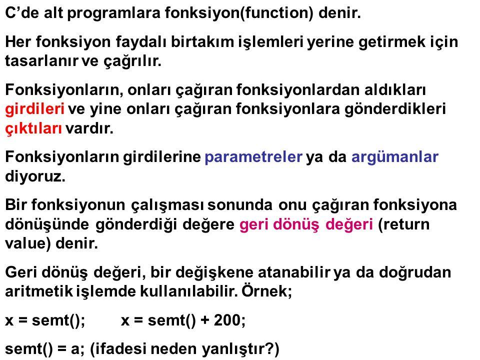 C'de alt programlara fonksiyon(function) denir. Her fonksiyon faydalı birtakım işlemleri yerine getirmek için tasarlanır ve çağrılır. Fonksiyonların,