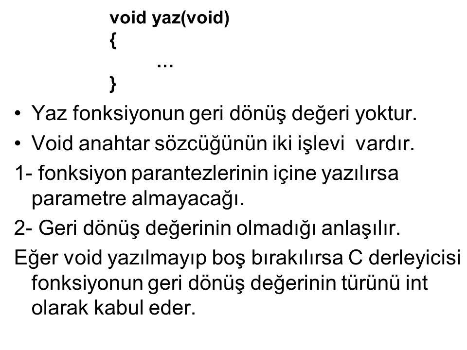 Yaz fonksiyonun geri dönüş değeri yoktur. Void anahtar sözcüğünün iki işlevi vardır. 1- fonksiyon parantezlerinin içine yazılırsa parametre almayacağı
